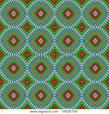 Colorful geometrical seamless pattern with round shapes