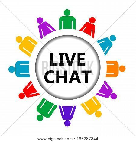 Illustration of Live chat icon on white background