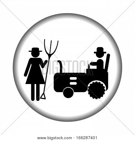 Farm icon with tractor and farmers woman and man