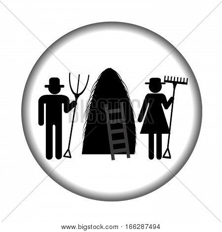 Farm icon with haystack and farmers on white background
