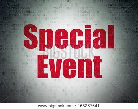 Business concept: Painted red word Special Event on Digital Data Paper background