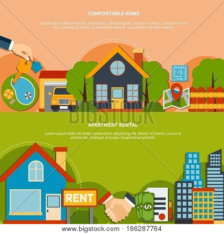 Colorful flat design real estate horizontal banners set with comfortable home and apartment rental icons isolated vector illustration
