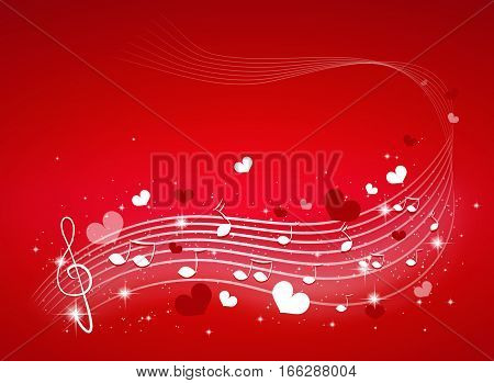 Illustration of music background with small hearts decoration