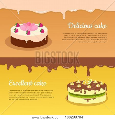 Delicious and excellent cake banners. Fruit cakes covered glaze, chocolate and cream flat vector illustration. Delicious baked sweets. For bakery, confectionery, culinary recipes web pages design