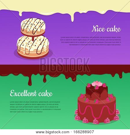 Excellent cake and nice cake banners. Decorated with fruits chocolade cakes covered glaze flat vector illustration. Delicious baked sweets. For bakery, confectionery, culinary recipes web page design