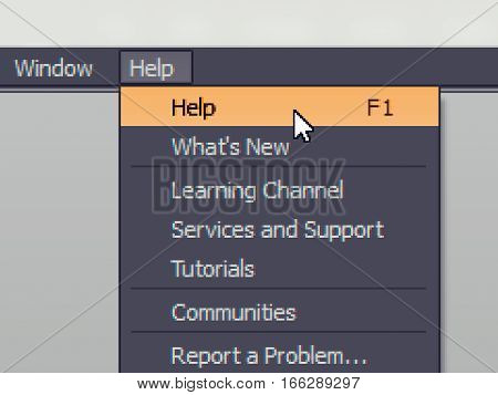 Software menu item with help (f1) command highlighted and mouse cursor selected it