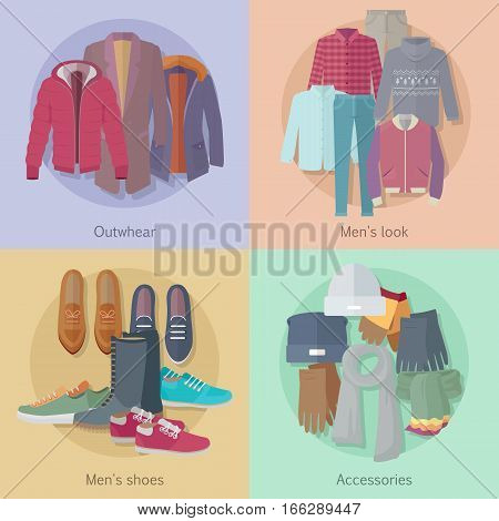 Men s clothing. Outerwear. Mens look. Mens shoes. Accessories. Autumn winter collection. Stylish fashionable clothes from popular designers. Best world brands trends. Vector in flat style design
