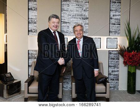 Un Secretary General Antonio Guterres And Petro Poroshenko