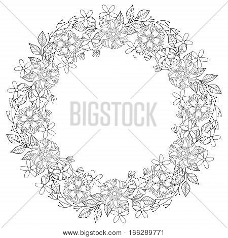 Floral zentangle doodles wreath in ornamental style. Vector circle frame made of flowers. Patterned background sor adult coloring page, aret therapy. Spring and summer collection. Invitation template.