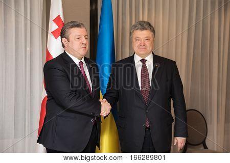 Prime Minister Of Georgia Giorgi Kvirikashvili And Petro Poroshenko