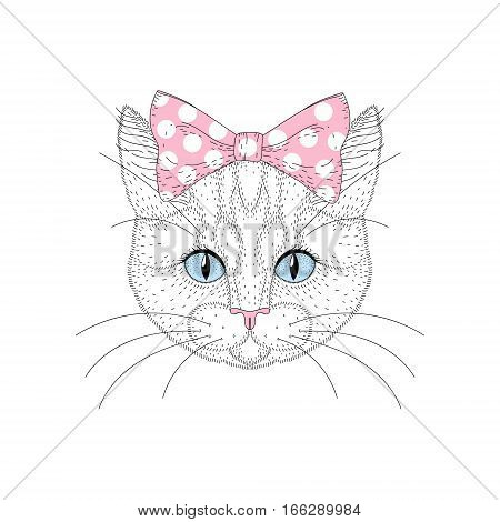 Cute cat girl portrait with pin up bow tie on head. Hand drawn kitty face, cheerful fashion feline, animal cartoon illustration for t-shirt print, kids greeting card, invitation for pet party.
