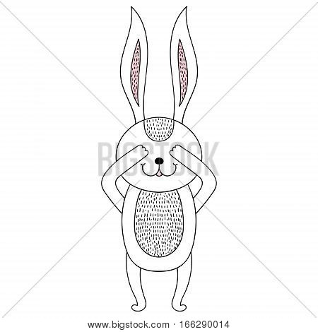 Funny hand drawn hidden rabbit cartoon. Children animal illustration for cute book, t-shirt print, happy Easter greeting card, birthday invitations, brochures, coloring pages.