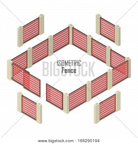 Wooden red fence with gate and pillars from four sides vector illustration in isometric projection isolated on white background. For gaming environment, architecture element, app, web design