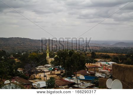 Aerial panorama view to old Harar city aka jugol Ethiopia