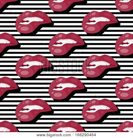 Women s lips seamless pattern. Sensitive mouth with bitten underlip flat vector illustration on black and white stripes background. For wrapping paper, greeting cards, invitations, print design