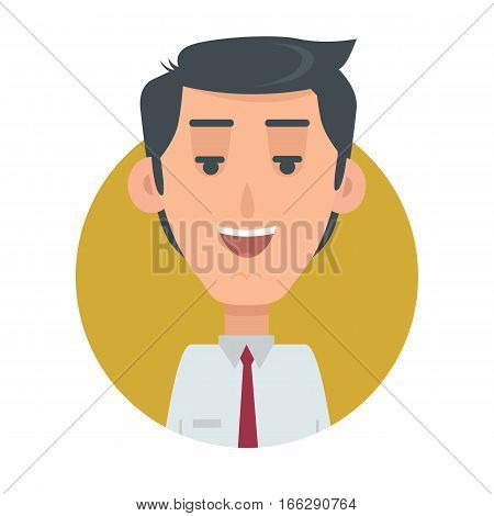 Successful man avatar web button. Happy male emotion userpic. Kind emotion face, feelings, emotional intelligence expression. Smiling businessman character in flat style. Cheerful person. Vector