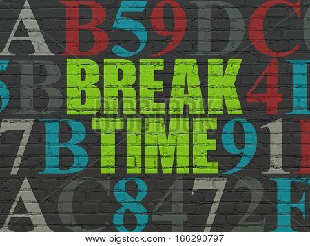 Time concept: Painted green text Break Time on Black Brick wall background with Hexadecimal Code