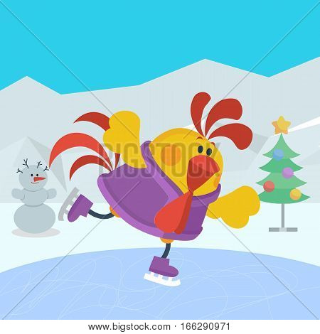 Rooster bird skate on skating ring. Cock go in for sport. Winter recreational activity. Chinese calendar zodiac horoscope. Chicken character collection in flat. New year xmas greeting card. Vector