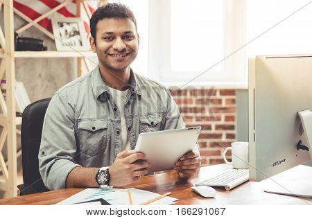 Afro American Man Working