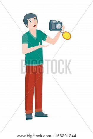 Discounts in electronics store concept. Smiling man standing with camera bought on big sale flat vector illustration on white background. Shopping on home appliances sellout. For shop promotions ad