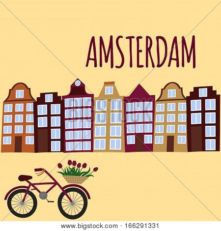 Amsterdam city flat art. Travel landmark architecture of netherlands Holland houses european building isolated set bike and flowers