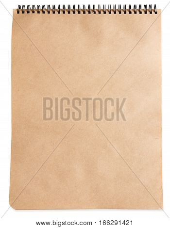 Blank spiral notepad or notebook with craft brown paper isolated on white background