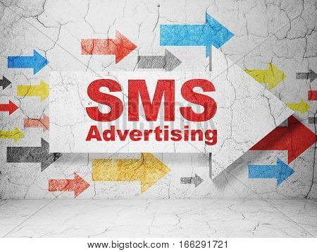 Advertising concept:  arrow with SMS Advertising on grunge textured concrete wall background, 3D rendering
