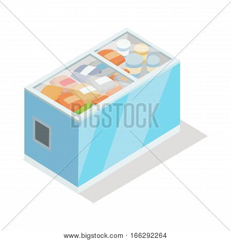 Showcase refrigerator for cooling food. Fridge dispenser cooling machine full of meat cheese fish chicken. Isolated object in flat design. Horizontal refrigerator with transparent front panels. Vector