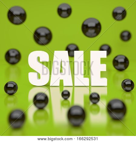 White sale word on green background. 3D rendering.