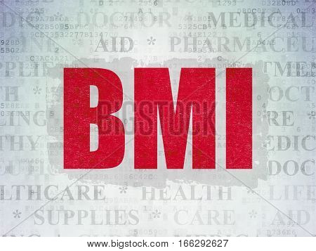 Medicine concept: Painted red text BMI on Digital Data Paper background with   Tag Cloud