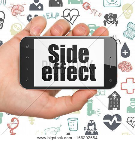 Health concept: Hand Holding Smartphone with  black text Side Effect on display,  Hand Drawn Medicine Icons background, 3D rendering