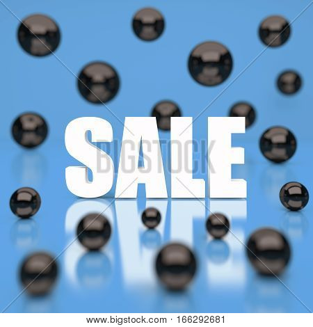 White sale word on blue background. 3D rendering.
