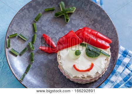 Funny sandwich for kids in shape of a pirate