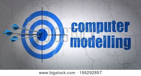 Success Science concept: arrows hitting the center of target, Blue Computer Modelling on wall background, 3D rendering