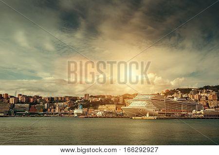 Porto Antico Port in Genova Italy .
