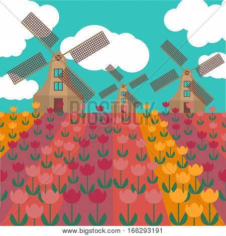 Amsterdam city flat art. Travel landmark architecture of netherlands Holland houses windmill in tulips.