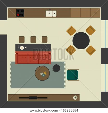 Living room in flat style, top view. Open space living room in apartment with furniture. Vector illustration banner with lounge zone, kitchen and dining table.