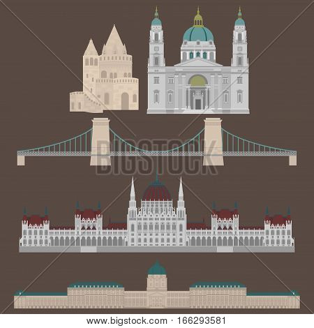Hungarian City sights in Budapest. Hungary Landmark Global Travel And Journey Architecture Elements Buda castle Chain Bridge. Budapest parliament Fisherman's bastion St. Istvan basilica