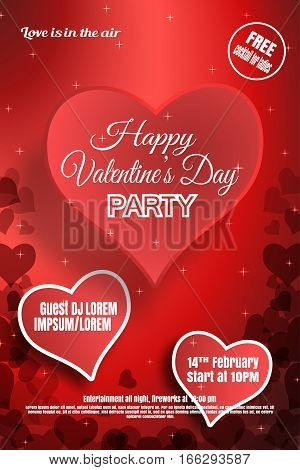 Vector Happy Valentine's Day night party poster on the gradient red background with paper hearts.