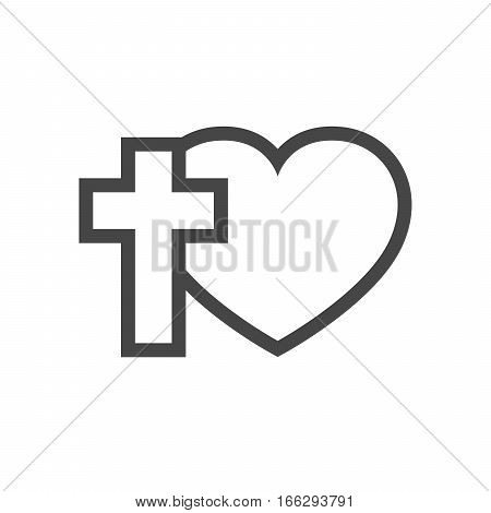 Christian cross and silhouette of heart. Gray symbol of christian love isolated on white background. Vector illustration. Christian symbol.