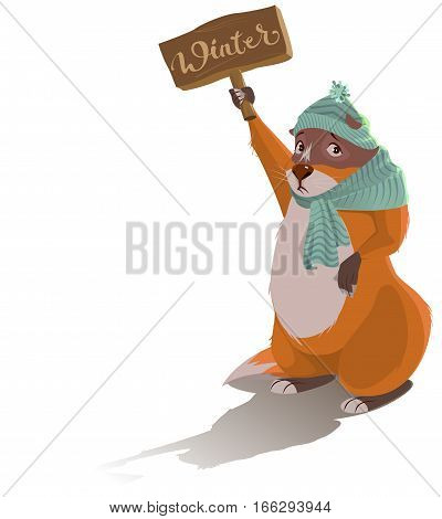 Groundhog Day. Sad marmot predicted winter. Vector cartoon illustration