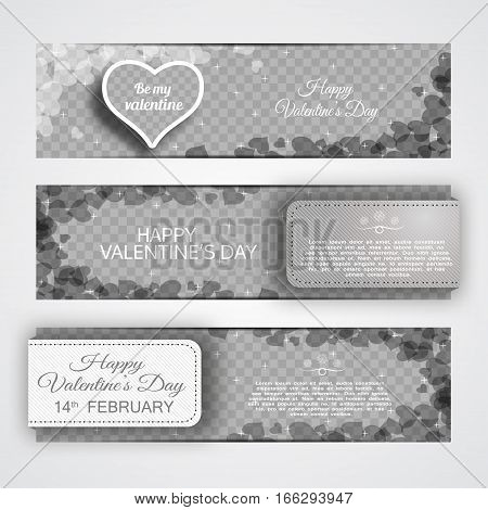 Vector of Happy Valentine's Day banners on the transparent background with heart stripes and abstract pattern.