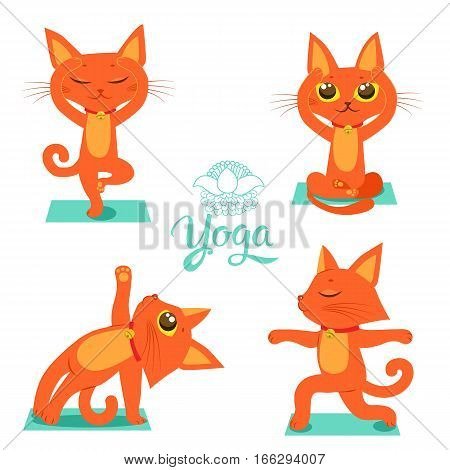 Set Cartoon Funny Cats Icons Doing Yoga Position. Cartoon Meditation Vector.