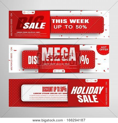 Vector sale banners on the red and white background with abstract pattern and insert.