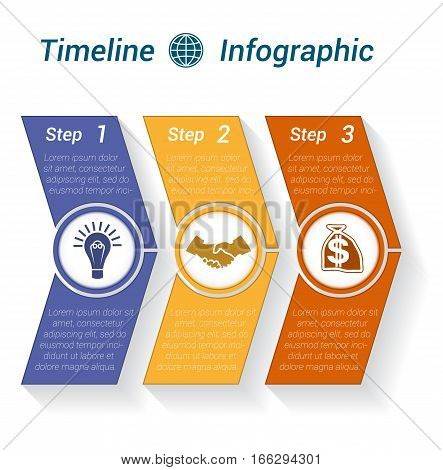 Template Timeline Infographic from colour arrows numbered for 3 position can be used for workflow banner diagram web design area chart