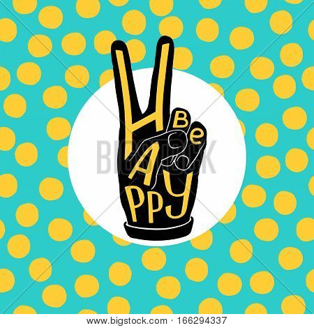 Uplifting conceptual symbol design. Gesture of hands in the shape of V - victory. Modern style artwork. Vector illustration
