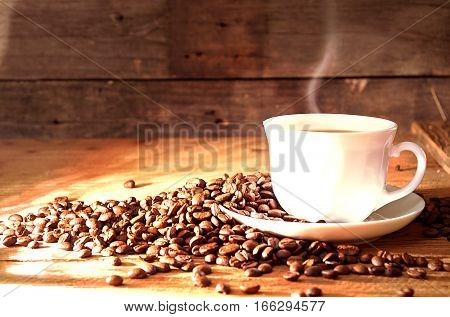 Cup Of Coffee With Steam, Roasted Coffee Beans