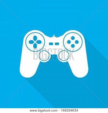 White joystick symbol with long shadow on blue background. Vector illustration. Video game symbol. Flat game joystick icon.