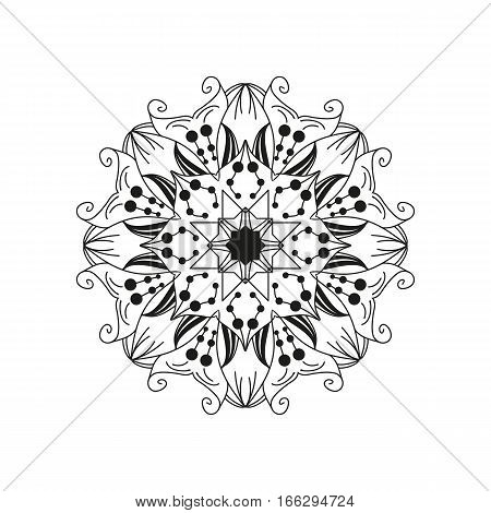 Intricate floral mandala. Abstract round web design element isolated on white background. Can be used as a coloring page. Hand-drawn vector illustration