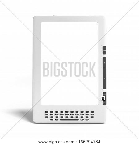 Blank E-book Reader 3D Render Image On White